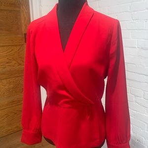 Red faux wrap top red J crew long sleeve like new
